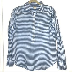 J. Crew sz M blue/white striped seersucker shirt